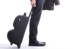 Business travellers walk to check in Stock Photo