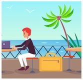 Business Travelling at Port Vector Illustration. Business travelling, businessman sitting at port and waiting for transport, laptop and man, sea and flying birds Royalty Free Stock Photography