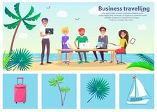 Business Travelling People Vector Illustration. Business travelling, placard with people sitting by table, surfing web and icons of baggage and palm, bushes and Stock Photos