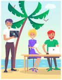 Business Travelling Poster with People on Beach Stock Images