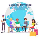 Business Travelling and Globe Vector Illustration Stock Images