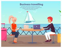 Business Travelling Man Woman Vector Illustration. Business travelling, poster with text and title, man and woman waiting for ship and surfing web with help of Stock Image