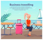 Business Travelling Woman Vector Illustration. Business travelling, poster with text and title, woman sitting and waiting for ship, seaport and sailboats Stock Photography