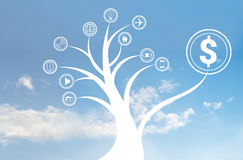 Business tree icon on the sky, business concept Stock Image