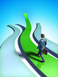 Business trend. Different paths representing business choices. A businessman chooses a green, upward climbing path. Digital illustration Stock Image