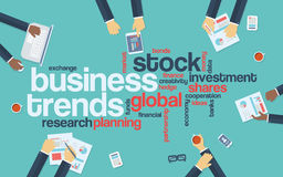 Business trends flat design infographics with word Stock Photos