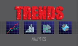 Business trends header with charts and graphs icons. Trends text header with 3d blocks effect, graphs and charts analysis icons. Vector illustration Royalty Free Stock Photography