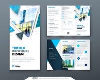 Business tri fold brochure design. Blue green corporate business template for tri fold flyer. Layout with modern square. Business tri fold brochure design. Blue Stock Photo