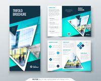 Business tri fold brochure design. Blue green corporate business template for tri fold flyer. Layout with modern square. Business tri fold brochure design. Blue Stock Photography