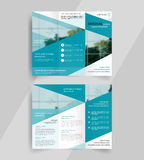 Business tri-fold brochure layout design emplate Stock Images