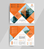 Business tri-fold brochure layout design emplate Stock Photos