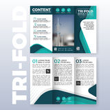 Business tri-fold brochure template design. With Turquoise color scheme in A4 size layout with bleeds. Vector illustration Stock Photos