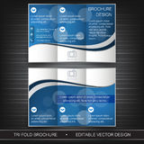 Business tri-fold flyer template, brochure or cover design Stock Image