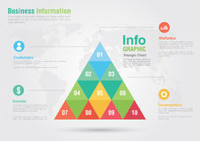 Business triangle bar chart infographic. Business report creativ Stock Images