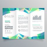 Business trifold brochure design with abstract shapes Stock Images