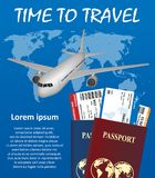 Business trip banner with Passport, tickets, airplane. And earth on background. Air travel concept. Business travel vector illustration. EPS 10 Stock Images