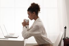 Business Trip. Businesswoman Working, Having Online Meeting royalty free stock photography