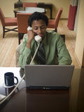 Business trip - happy laptop man Royalty Free Stock Photos