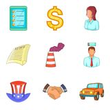 Business trip icons set, cartoon style. Business trip icons set. Cartoon set of 9 business trip vector icons for web isolated on white background Stock Image