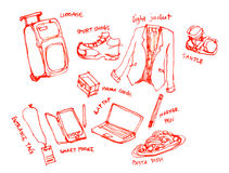 Business trip kits illustration. Business trip, travel kits illustration Royalty Free Stock Image