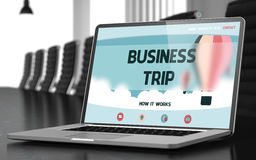 Business Trip on Laptop in Conference Room. 3D Illustration. Business Trip. Closeup Landing Page on Laptop Screen. Modern Meeting Room Background. Blurred Royalty Free Stock Photos