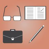 Business trip and Office Icons with Brown Royalty Free Stock Photography
