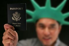 Business Trip - passport. USA passport - statue of liberty Royalty Free Stock Images