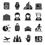Business trip , travel, meeting , seminar icon set Royalty Free Stock Images