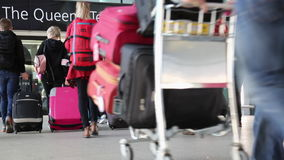 Concept business trip people suitcases walking departure gates stock footage