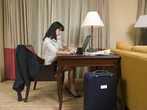 Business trip - working late Stock Photography