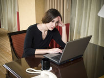 Business trip - working late frustration Stock Photo