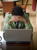 Business trip - working late frustration Stock Photography