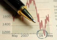 Business in trouble. Pen on current business situation graph Stock Image