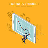Business trouble. Concept 3d isometric flat design Royalty Free Stock Photos