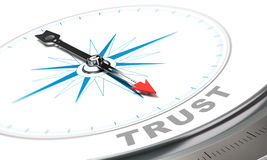 Business Trust Concept. Compass with needle pointing the word trust, confidence concept over white background Stock Photos
