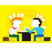 Business-Tug of war. Negotiations of business is like the table War Stock Photography