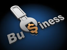 Business tune. 3d illustration of wrench tuning dollar sign in word 'business', over black background Royalty Free Stock Photography