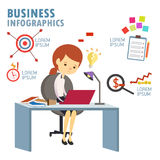 Business turn down info graphic Stock Photos