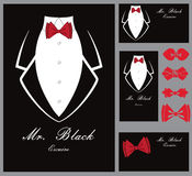 Business tuxedo background with a red bow tie Stock Photography