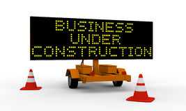 Business under construction. Signboard on the top of a roadworks cart saying Business under construction Stock Photo