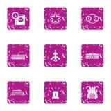 Business undertaking icons set, grunge style. Business undertaking icons set. Grunge set of 9 business undertaking vector icons for web isolated on white Stock Photo