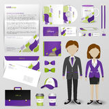 Business uniform, office stationary, and accessories tool such a. S staff shirt, computer storage device, brochure, mail and paper label with brand icon logo Stock Images