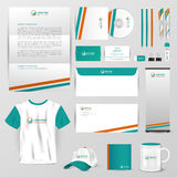 Business uniform, office stationary, and accessories tool such a. S staff shirt, computer storage device, brochure, mail and paper label with brand icon logo Royalty Free Stock Photos