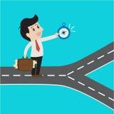 Business using compass choosing  way to success. Vector cartoon business concept Stock Image