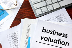 Business valuation written in a document. Royalty Free Stock Image