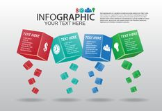 Business Vector Abstract 3d Box Infographics. Step vector communities Royalty Free Stock Images