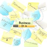 Business vector background with note papers components. Business collage from note paper with handwriting business words Royalty Free Stock Photo