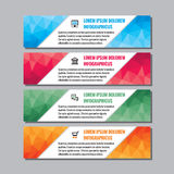 Business vector banners with polygonal sergments for presentation, booklet, website and other design project. Royalty Free Stock Image