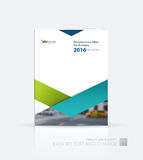 Business vector. Brochure template layout, cover design annual r. Eport, flyer in A4 with green triangles, arrows for business, finance, buildings, nature Royalty Free Stock Images