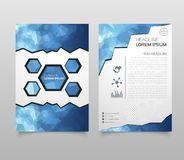 Business vector. Brochure template layout, cover design annual report, magazine, flyer in A4 with red flying triangles, square, ci. Rcles, flower, polygons for stock illustration